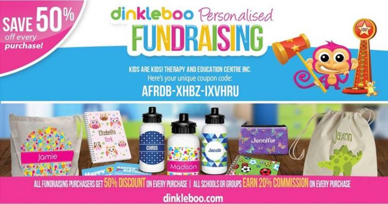 50% off personalised products with Dinkleboo